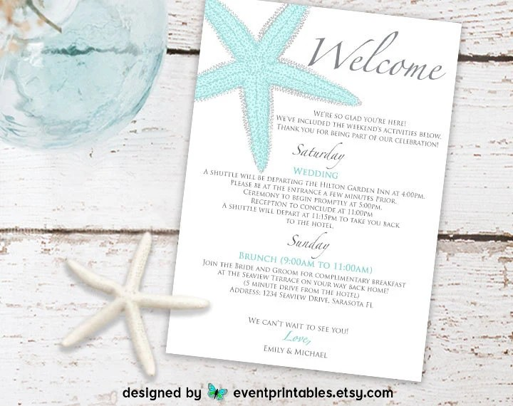 Printable Starfish Welcome Letter Beach Wedding Itinerary