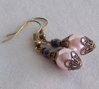 Pale Pink Pearl Earrings Filigree Antique Vintage Lacy