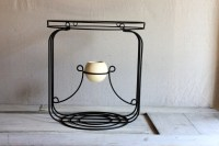 mid century black wire side table with Haeger pot indoor or
