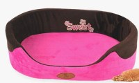 Top Quality Small Hot Pink Dog Bed 2 Removable Cushions
