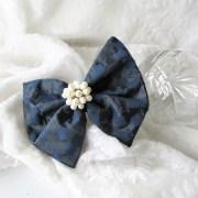 bow big blue silk hair special