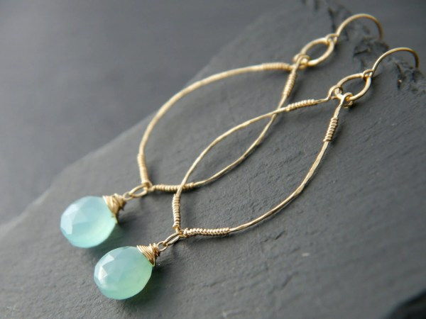 Aqua Chalcedony Earrings 14k Gold Filled Wire Wrapped
