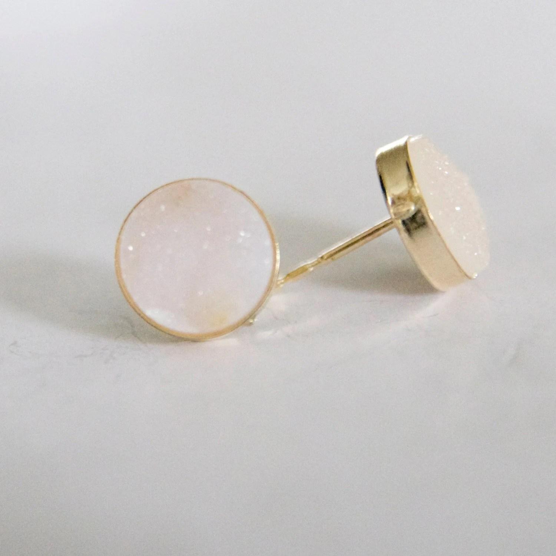Dainty Druze Stud Gold Earrings Dainty 10mm Druze Earrings