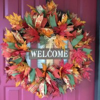 Fall Deco Mesh Wreath Welcome Fall Wreath Autumn Front Door