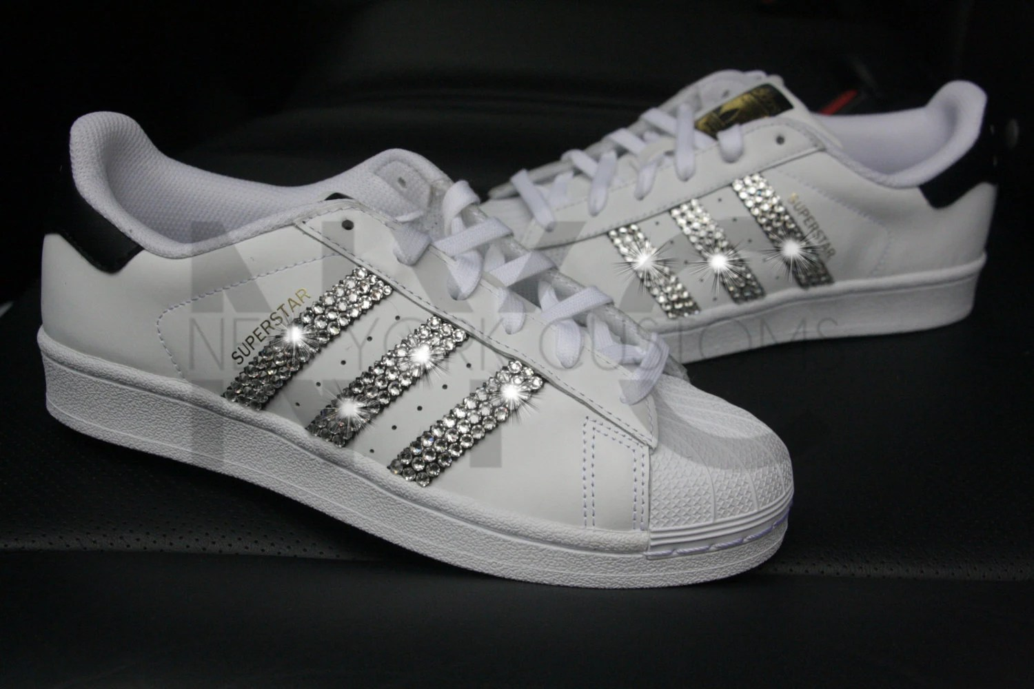 Adidas Superstar White Black Swarovski Crystal Rhinestones