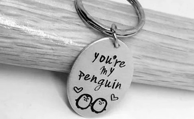 You Re My Penguin Hand Stamped Keyring Gift For