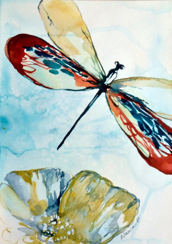 Dragonfly Watercolor Original Painting. Contemporary Water