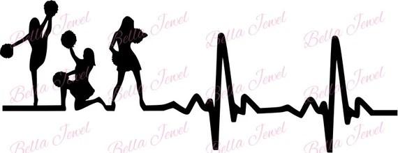 Download Cheerleader SVG Cheerleading svg Cheer svg heartbeat svg