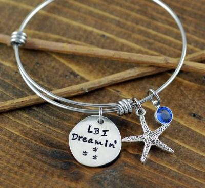 Beach Jewelry Hand Stamped Bracelet Long Beach Island