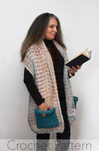 Reader's Wrap Crochet PATTERN / Pocket Shawl / PDF / Made