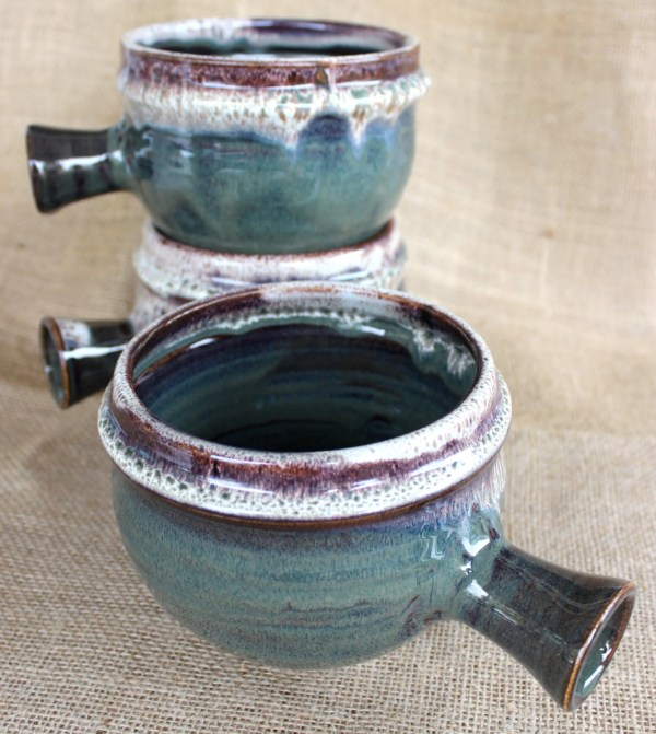 Soup Bowls With Handle Wheel Thrown Stoneware Large