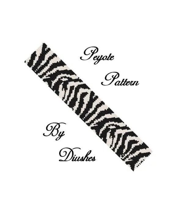 Zebra Beading pattern Bracelet Even count peyote stitch