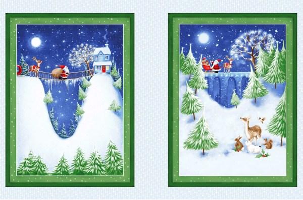 Christmas Village Fabric Panel