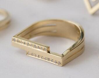 Innovative GoldDiamantRing architektonische von YAMAjewelry