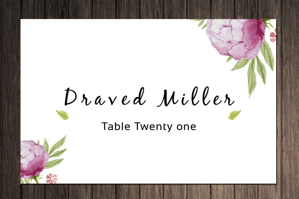 Items Similar To Printable Wedding Place Cards Template Floral Place Card Flat And Folded