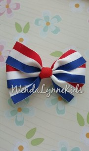 red white and blue hair bow 4 pinwheel