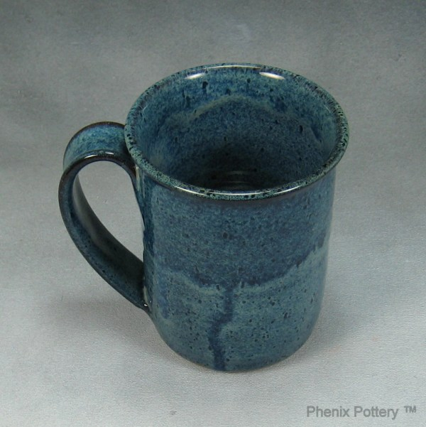 14 16 Ounce Blue Mug Ceramic Coffee Cup Hand Thrown