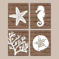Beach BATHROOM Wall Art CANVAS or Prints Nautical Coastal