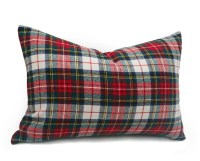White Red Plaid Pillow Cover 12x20 Wool Plaid Pillows