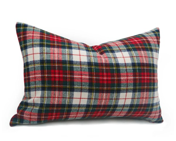 White Red Plaid Pillow Cover 12x20 Wool Pillows
