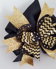 gold glitter hair bow babys