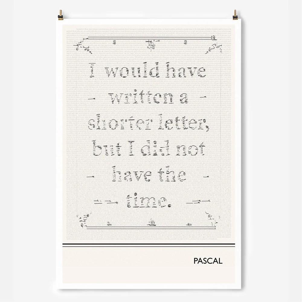 Literary Art Prints Blaise Pascal Minimalist Poster