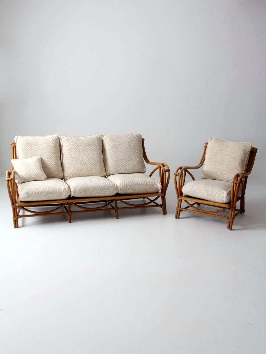bamboo couch and chairs used wooden for sale vintage rattan furniture set chair with
