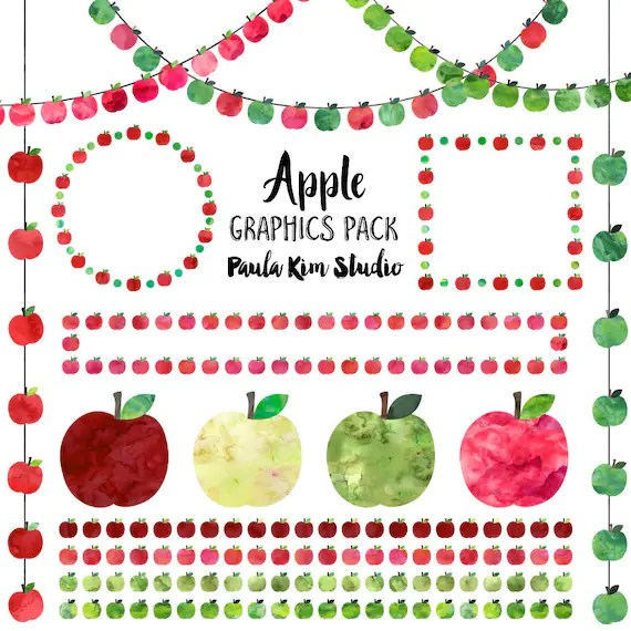 watercolor apple clip art digital