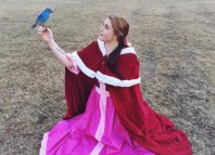 Winter Belle Pink Dress And Cape Beauty Beast