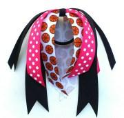 pink and black basketball bow hair