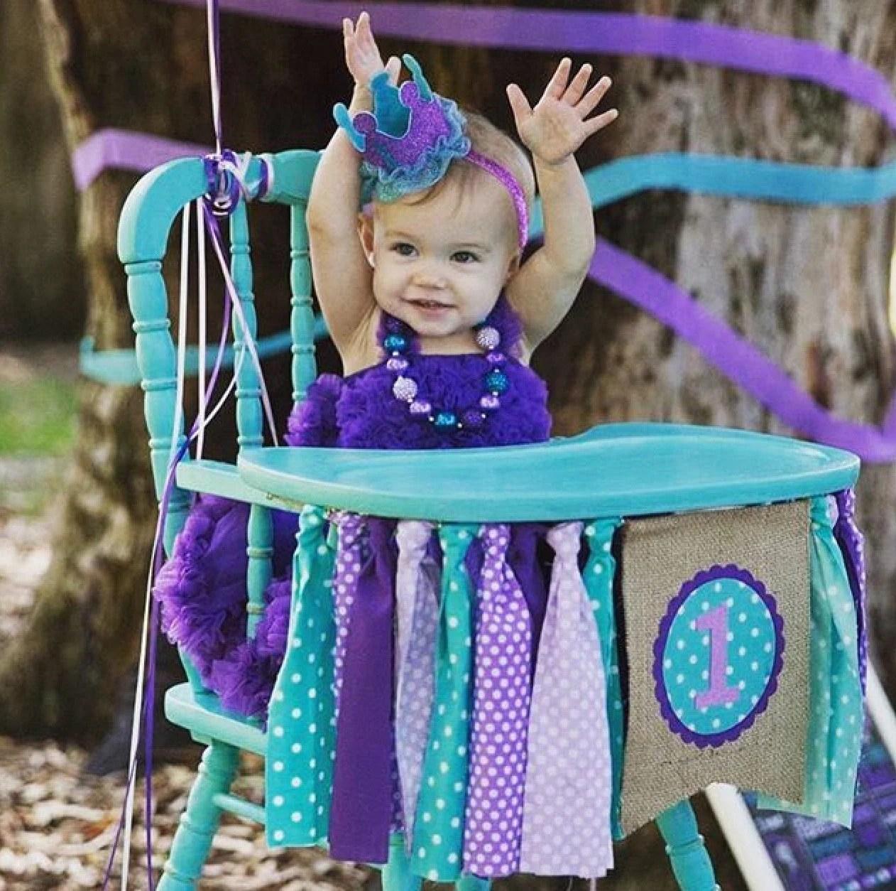 the mermaid chair wood rail birthday banner highchair high purple teal
