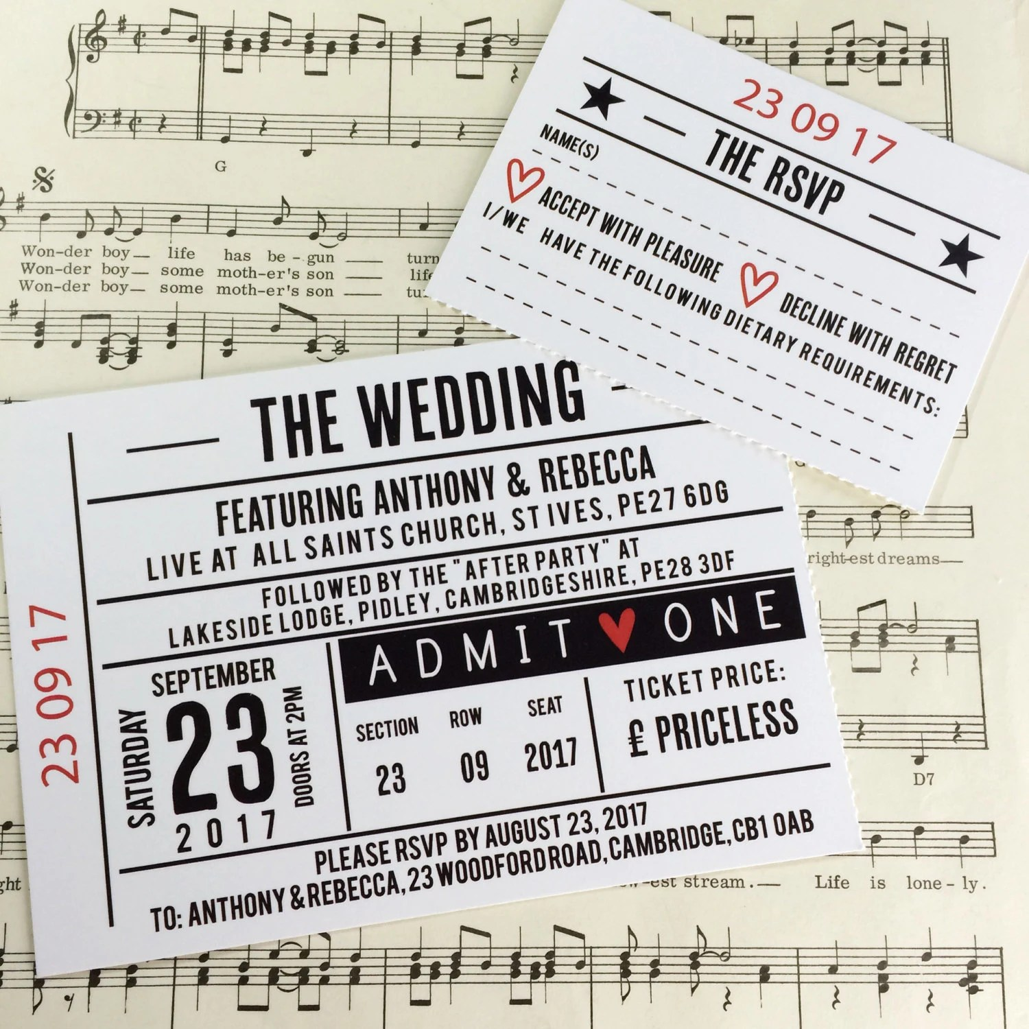 Wedding Party Invitations Gig Concert Ticket by LoveMeDoDesign