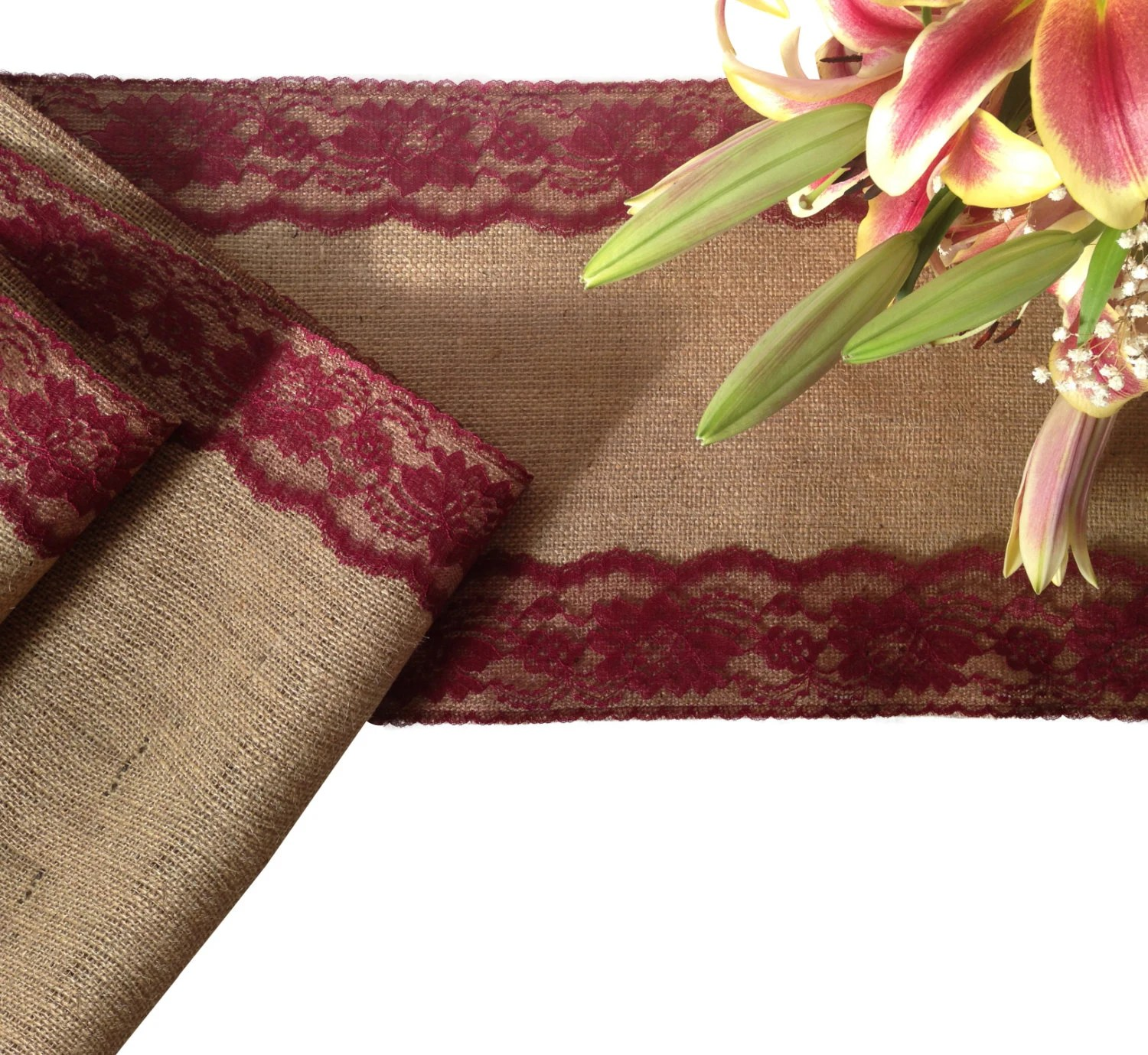 Burlap And BURGUNDY RED Lace Table Runner By