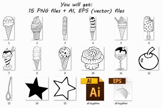 Doodle Ice Cream ClipArt, Digital Ice Cream, Hand drawn