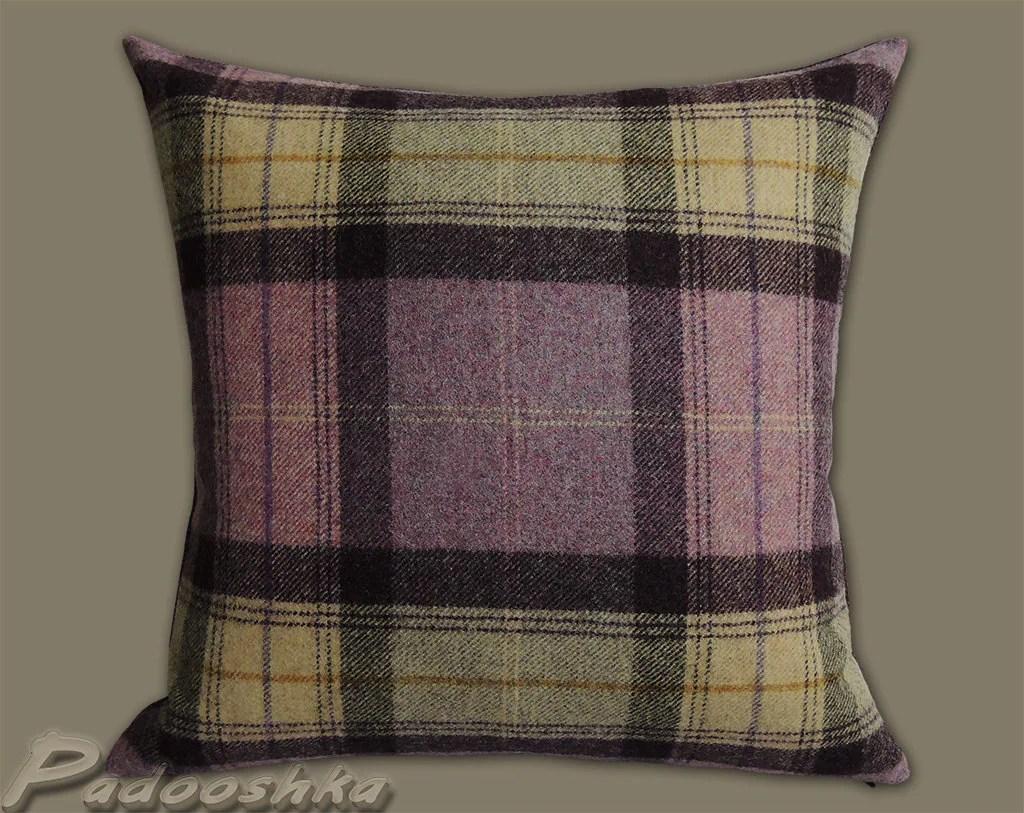 chair covers scotland stressless uk purple plaid pillow cover scottish tartan cushion case wool