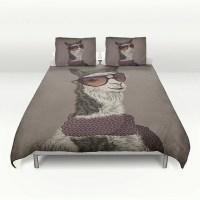 Bedding Hipster Llama Duvet Cover Set Soft Brown or Gray