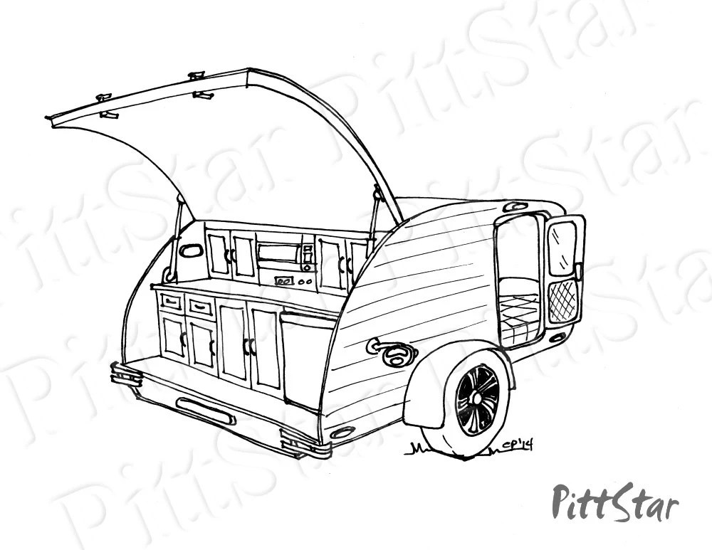 Instant Download Retro Teardrop Travel Trailer Printable