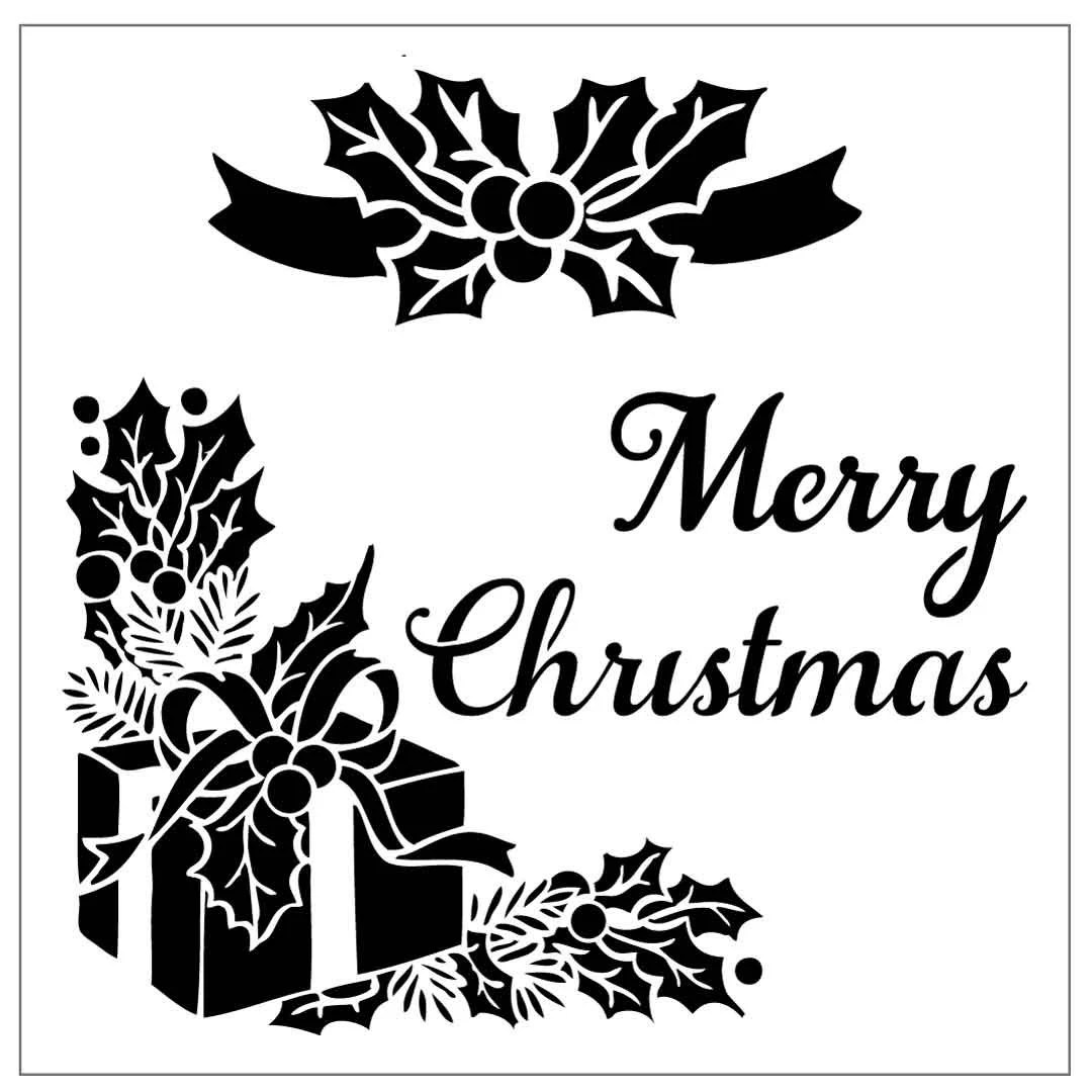 MC08 Reusable Laser-Cut Stencil Merry Christmas 6x6 from