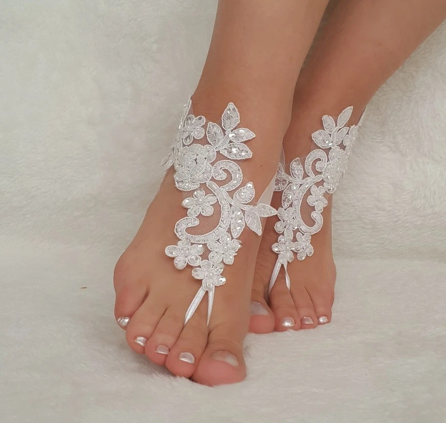 White ivory lace barefoot sandals wedding barefoot