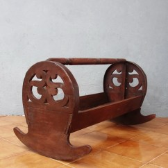 Rocking Chair Cradle Stool For Kitchen Counter Antique Wooden Hand Sawn Crib Baby Bed Early