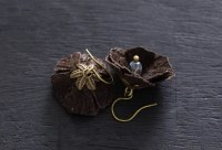 Brown Leather Flower Earrings Leather Jewelry Nature
