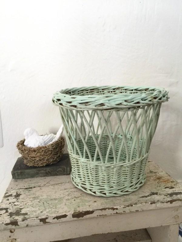 Vintage Wicker Waste Basket Trash 1940s Green