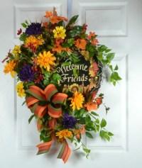 Fall Welcome Wreath for Door Front Door Wreath Fall