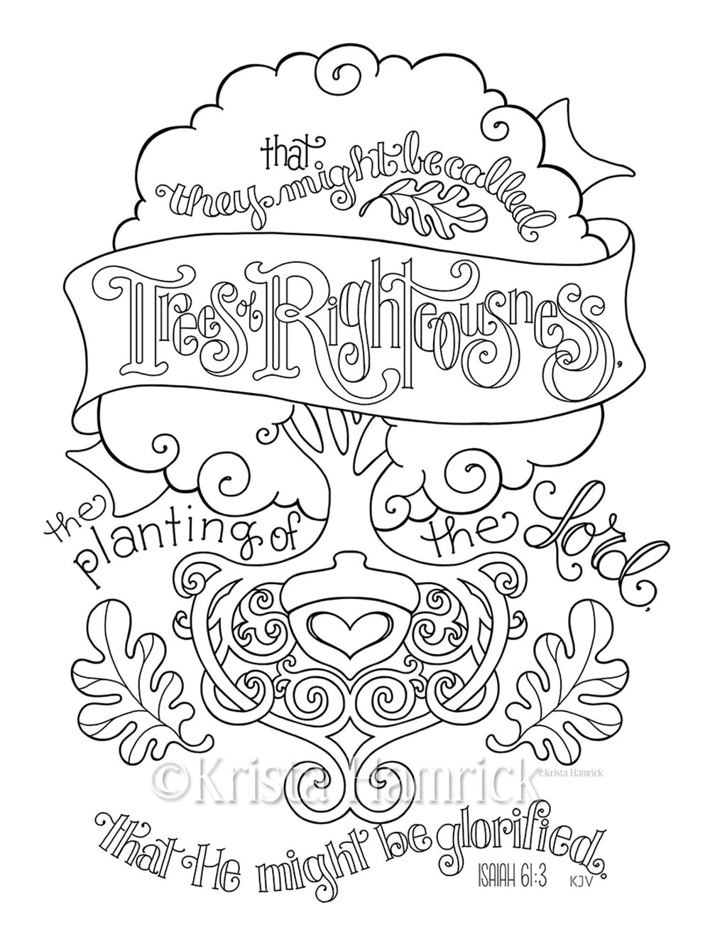 Trees of Righteousness coloring page 8.5X11 Bible