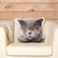 Grey Cat Pillow Cat Head Fan Whimsical Pillow Animal by ...