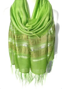 Green Scarf. Pistachio Scarf. Light Green Shawl. Metallic
