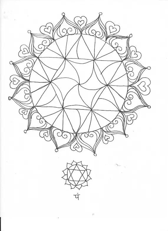 Heart Chakra Elemental Mandala Adult Coloring Page
