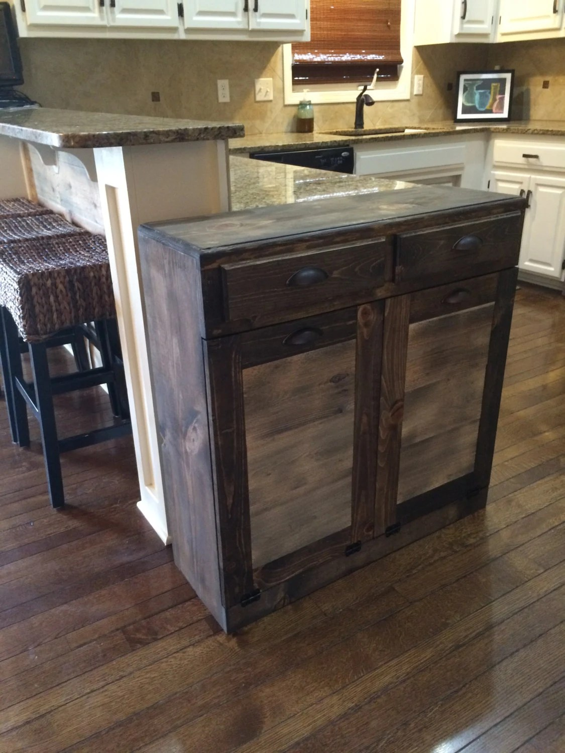13 gallon kitchen trash can light fixture double tilt bin recycle rustic out by ...
