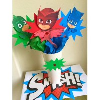 Pj Masks 3 character jewel Centerpiece Picks Pj Masks Candy