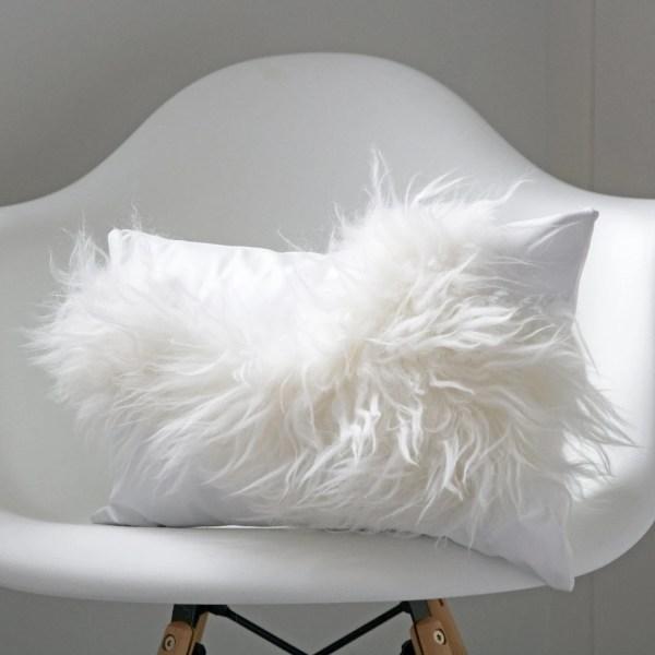 White Sheepskin Cushion Leather Fur Pillow